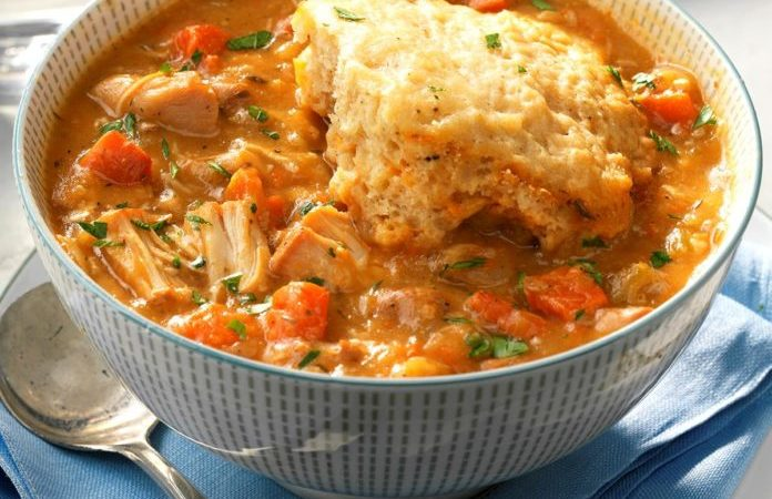 Slow Cooker Chicken and Dumplings  Slow Cooker Chicken and Dumplings CFM Slow Cooker Chicken and Dumplings 696x450